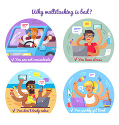 why multitasking is bad poster with some reasons vector image