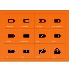 Battery icons on orange background vector image