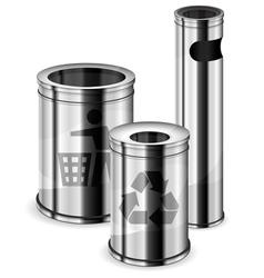 metal trash bins vector image vector image
