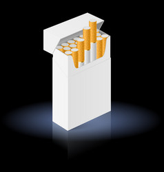 white pack of cigarettes isolated on black vector image