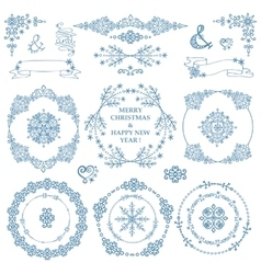 ChristmasNew year decor setWinterWreath frames vector image vector image