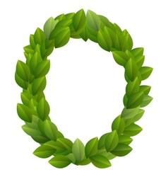 Letter O of green leaves alphabet vector image vector image