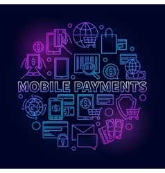 Mobile payments circular blue sign vector image vector image
