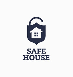 modern professional sign logo safe house vector image