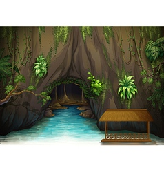 A cave a water and a wooden shade vector image