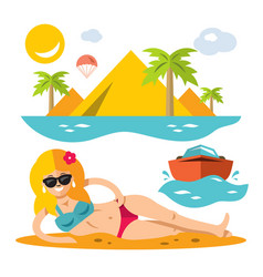 beach girl flat style colorful cartoon vector image vector image