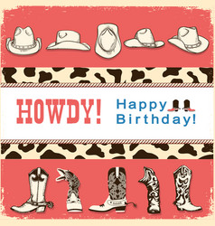 cowboy happy birthday card with western hats and vector image vector image