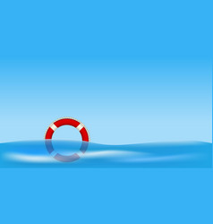 red life buoy floating on water vector image