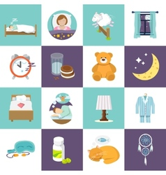 Sleep time icons flat vector image