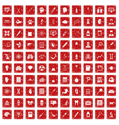 100 diagnostic icons set grunge red vector image