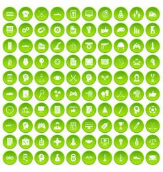 100 strategy icons set green circle vector
