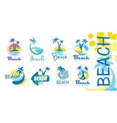 a set icons for beach with image vector image