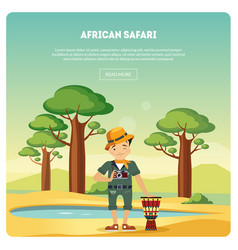 african safari banner male tourist standing in vector image