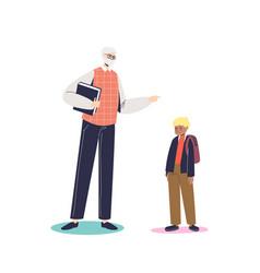Angry teacher scolding little schoolboy adult man vector