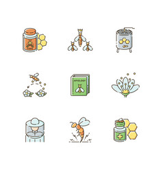 Apiculture rgb color icons set vector