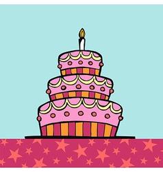 Birthday cake on table vector