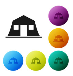 Black military barracks station icon isolated vector