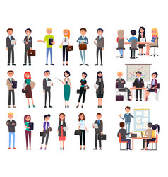 Business meeting people seminar office workers vector
