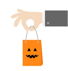 businessman hand holding shopping paper bag vector image