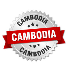Cambodia round silver badge with red ribbon vector