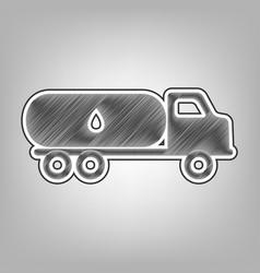 Car transports oil sign pencil sketch vector