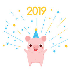 cartoon pig symbol of 2019 chinse new year with vector image