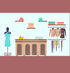cash register counter in store for women mannequin vector image