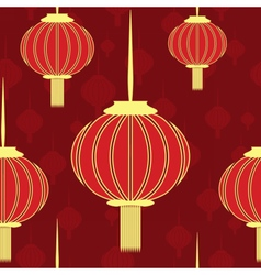 Chinese red seamless with gold lanterns vector