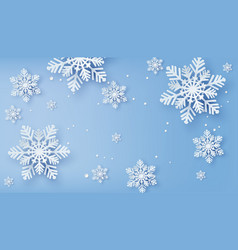 christmas card with paper cut snow flake vector image