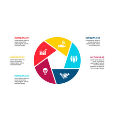 circle infographic with 5 options or steps vector image