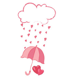 cloud with hearts rain from hearts vector image