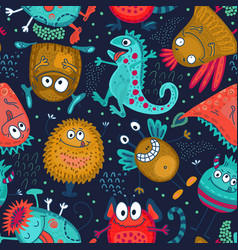 colorful seamless pattern with funny vector image