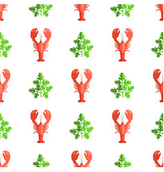 cryafish and parsley pattern vector image