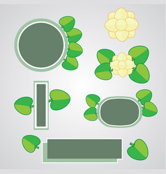 cute paper flower and leaf icon vector image