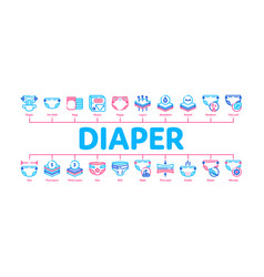 Diaper for newborn minimal infographic banner vector