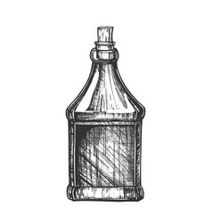 Drawn blank bottle of scotch with cork cap vector