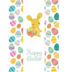 easter egg frame trmplate with rabbit vector image