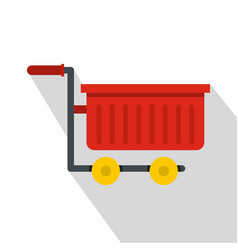 empty red plastic shopping trolley icon flat style vector image