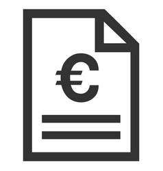 Euro invoice page flat icon vector