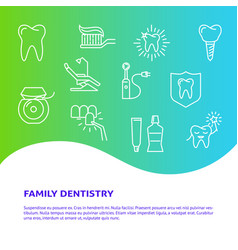 Family dentistry clinic poster template in line vector