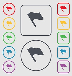 Finish start flag icon sign symbol on the Round vector