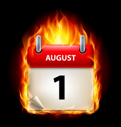 First august in calendar burning icon on black vector