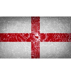 Flags England with broken glass texture vector image
