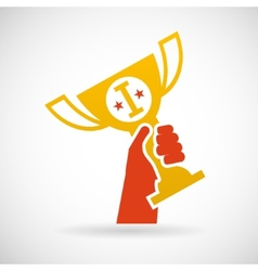 Flat design style hand holding golden bowl victory vector
