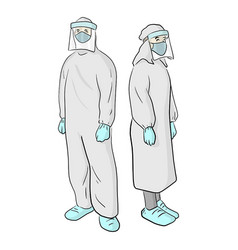 Full length view male and female doctors in vector