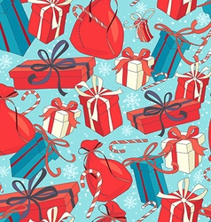 Funny Merry Christmas seamless pattern with gift vector