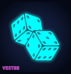 game dices sign neon light design vector image