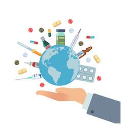 Global pharmaceuticals hand hold earth globe vector
