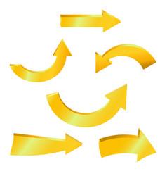 golden arrow sparkling on white background vector image