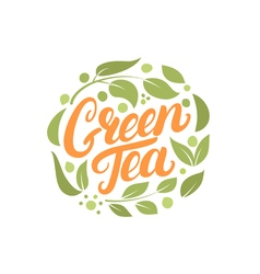 Green Tea hand written lettering logo label badge vector